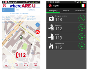 Several emergency numbers are combined in a single phone application with different visual representation